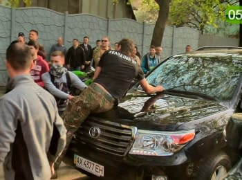 "Activists threw stones and eggs at the cars of ""Opposition block"" members. Kharkiv, 18.04.2016"