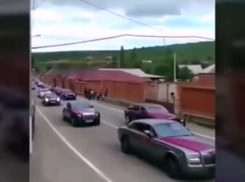 Video of the wedding convoy of Ramzan Kadyrov's nephew