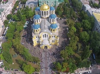 Religious procession in honor of the Day of the Baptism of Rus. Video from UAV