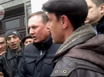 Efremov in Lugansk urges to not to recognize Ukraine and to hold a referendum. March 2014