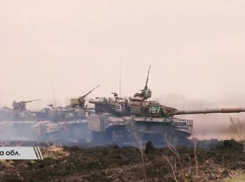 Military drills of the 17th separate tank brigade