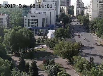 Видео взрыва автомобиля сотрудника ГУР МО Украины, 27.06.2017