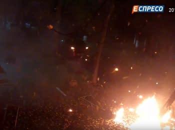 Момента взрыва возле канала Espreso.TV. Видео с камеры наблюдения, 25.10.2017