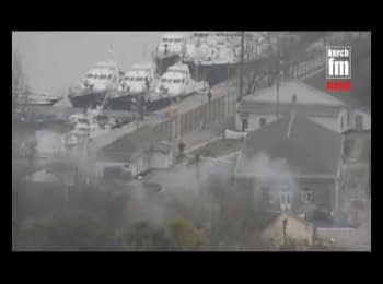 Captured Ukrainian boats in Kerch